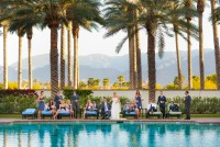 palm desert bridal party by the pool